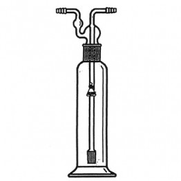 "Bottle, Gas Washing, Fritted Cylinder, Complete - 34/28 T/S Joints, Capacity 125ml, Porosity ""M"""